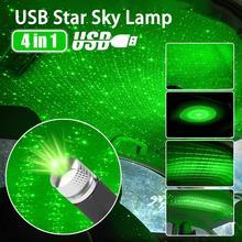 LED Lamp 4 in 1 USB Car Roof Atmosphere Star Sky Ambient Star Light Projector Purple Night Light Adjustable Multiple Lighting