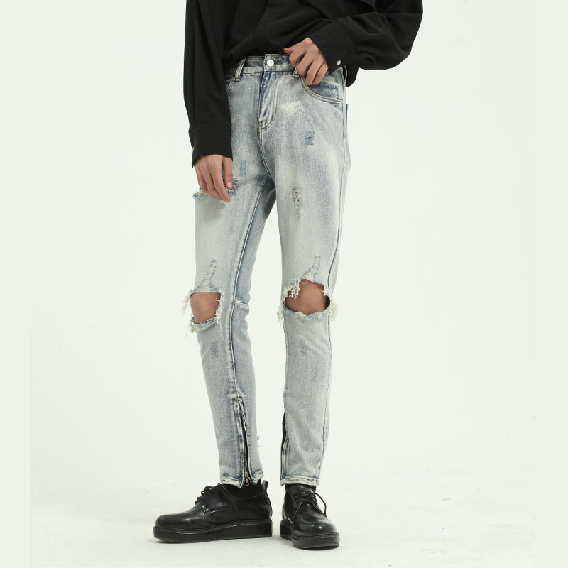 Men High Street Hip Hop Slim Fit Casual Hole Ankle-length Jeans Pant Male Japan Korea Style Vintage Denim Trousers Moto Pants