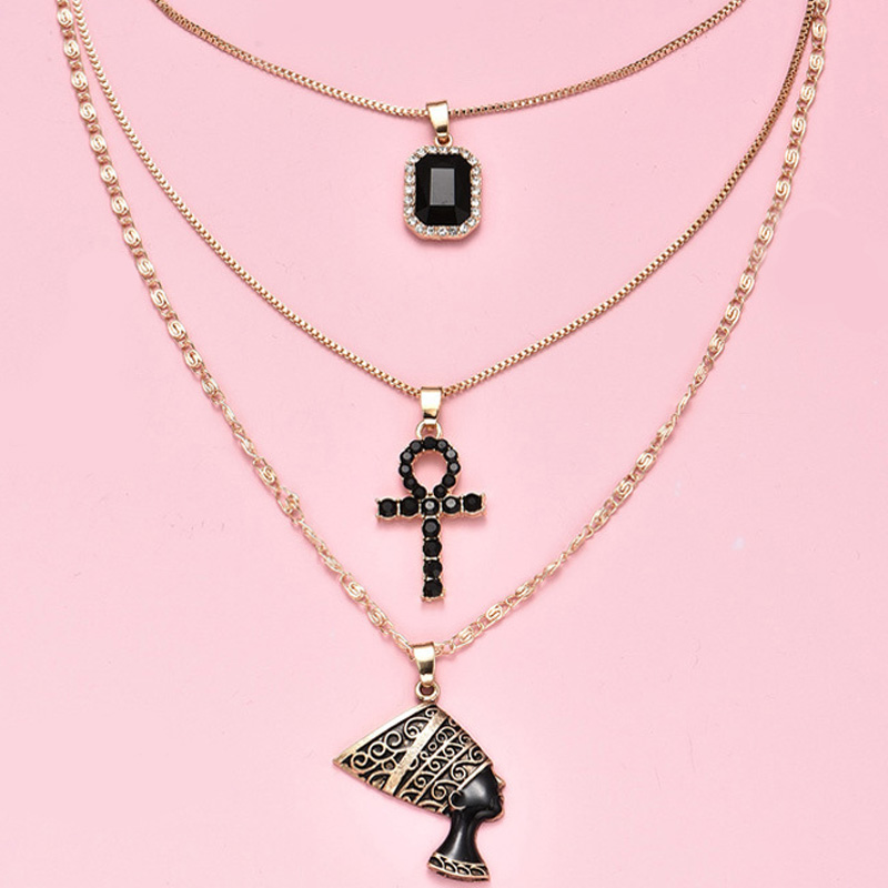 3Pcs/Set Bohemian Women Necklaces Set Cross Pharaoh Statue Square Black Crystal Clavicle Chain Gold Necklace Wedding Jewelry