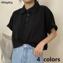 T-shirts de Style japonais pour femmes, coton solide, tenue d'été pour filles Preppy, noir, Chic, boutons, Kawaii, t-shirt de rue pour dames