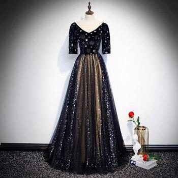 Elegant Black Evening Party Gown Lady Qipao Bing Half Sleeve V-neck Robe De Soiree Full Length Prom Dress Mesh Vestidos De Festa