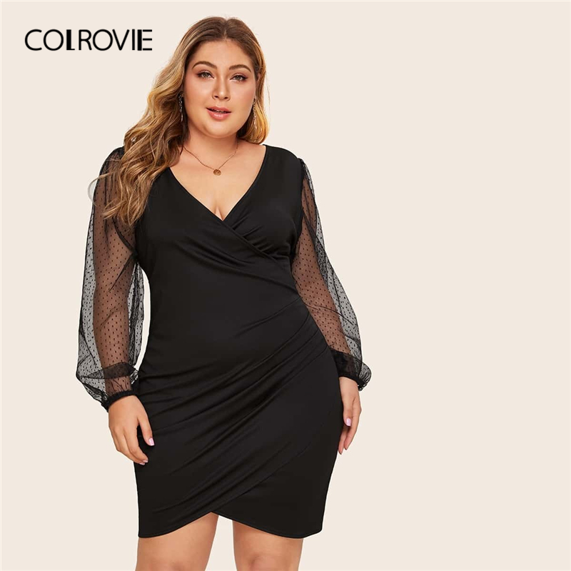 COLROVIE Plus Size Surplice Contrast Mesh Bishop Sleeve Dress Women Black Sexy Mini Dress 2020 V neck Solid Glamorous Dresses
