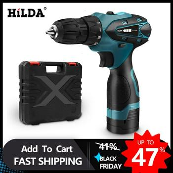 HILDA Electric Drill Cordless Screwdriver Lithium Battery  Mini Drill Cordless Screwdriver Power Tools Cordless Drill aotuo cordless electric screwdriver lithium battery mini two speed electric drill rechargeable screwdriver home diy electrictool
