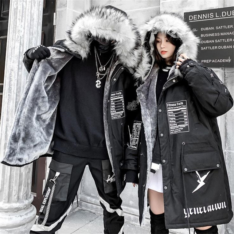 NAGRI Hip-hop Winter Coat Women Long Fur Collar Warm Parka 2019 Street Style Oversize Couple Hooded Fleece Jacket Ladies