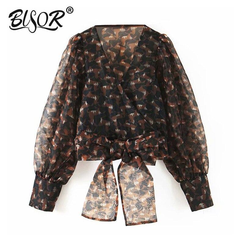 Women Vintage Print Crop Tops Sexy Bow Design V Neck Long Sleeve Transparent Blouse Female Short Stylish Organza Shirts Blusas