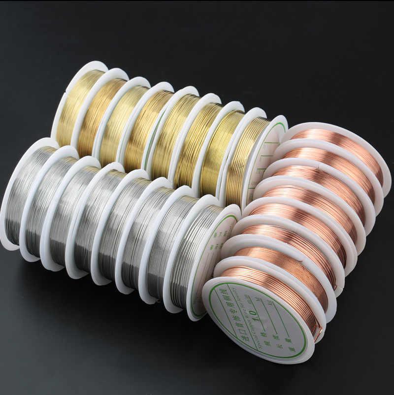 0.2-1mm srebrny/złoty/różowego złota miedź drut dla bransoletka naszyjnik DIY Colorfast żyłka do nawlekania koralików sznurek do biżuterii ciąg do Craft Making