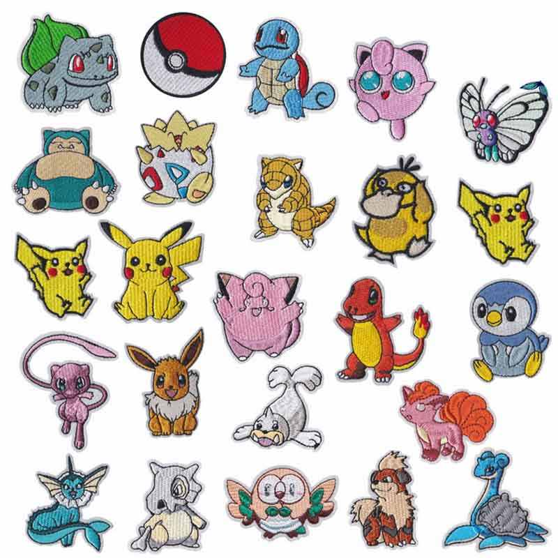 Cartoon Squriel Pikachu Anime Pokemon Animal Iron On Embroidered Clothes Patches For Clothing Stickers Garment Wholesale