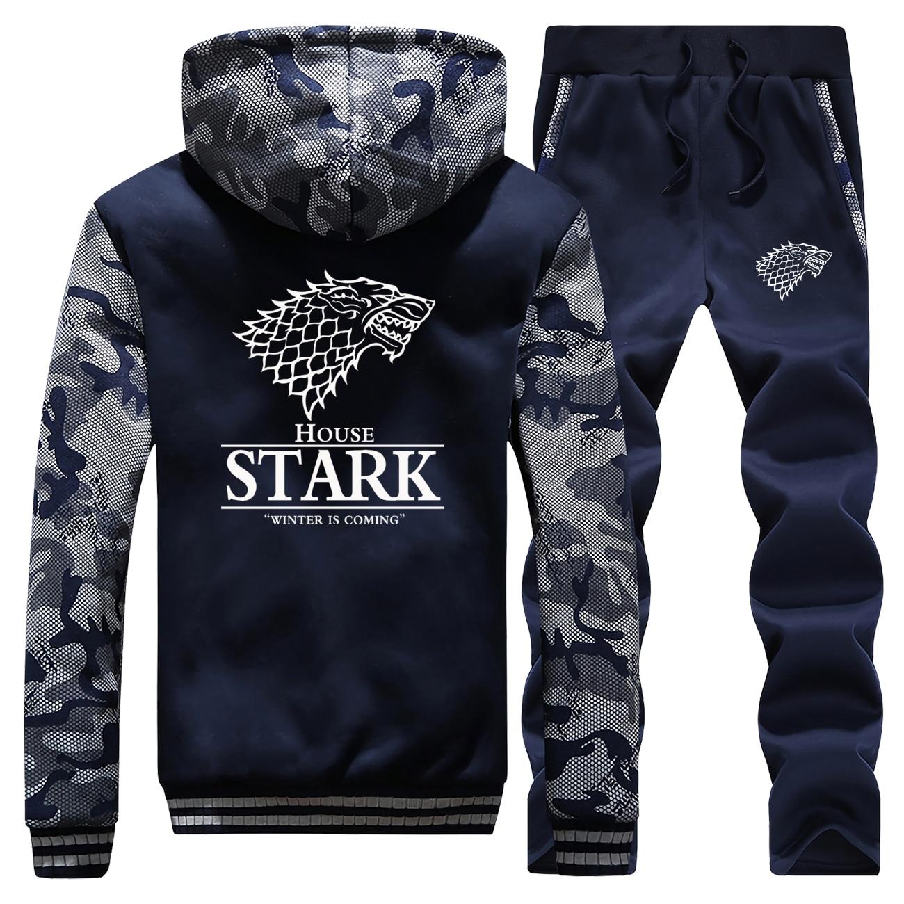 Hoodies Pants Set Men Sportswear Game Of Throne 2 Piece Set Track Suit House STARK Sweatshirt Winter Thick Fleece Sweatpants