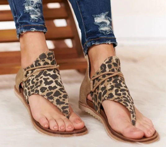 Women Sandals Leopard Pattern Large Size Rome Sandals