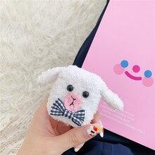 For AirPod 2 Case 3D White Cute Sheep Cartoon Soft Plush Wireless Earphone Cases Apple Airpods Cover Funda