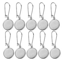 10pcs Stainless Steel Earring Hooks Base Settings Fit 10/12/14/16/18/20/25/30mm Round Glass Cabochons Gens Cameo Jewelry Making(China)