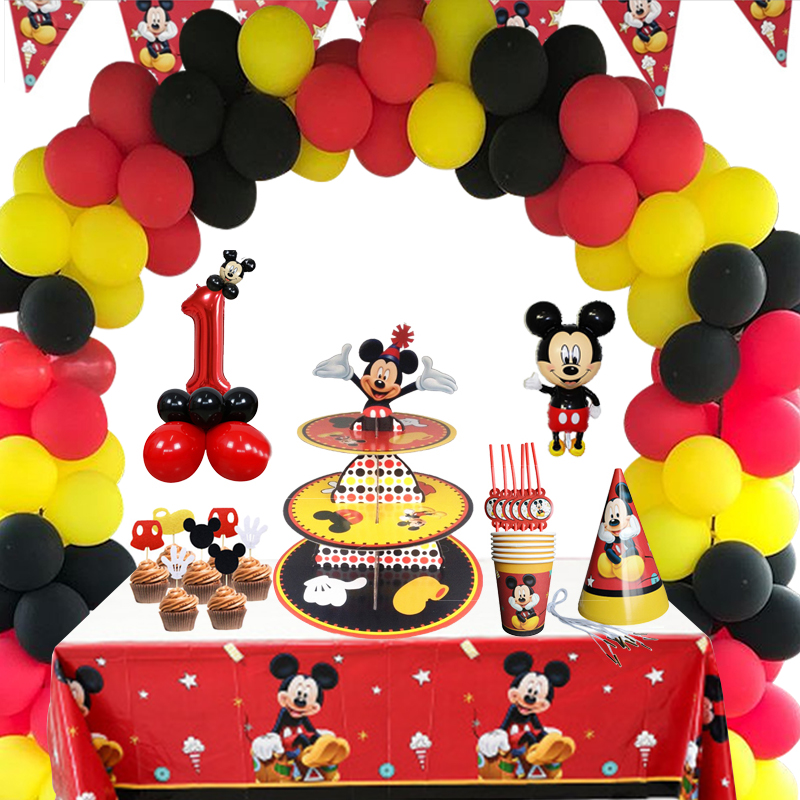 Red Mickey Arch Balloon Holder Children's Birthday Party Supplies Decoration Boy Family Friends Disposable Tableware Party