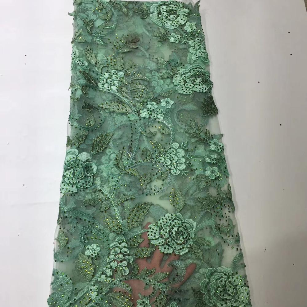 New African Lace Velvet Fabric With Stone Design 2020 French Embroidery Fabric Used For Africa Women Party Dress