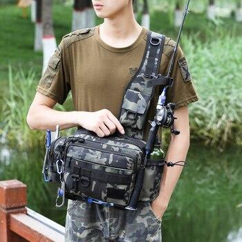 Multifunctional Fishing Tackle Bags Single Shoulder Crossbody Bag Waist Pack Fish Lures Gear Utility Storage Fishing Bag  X232G