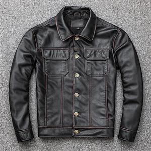 Image 5 - Spedizione gratuita. regalo giovane classic casual genuino cappotto di pelle. vintage degli uomini di giacca di pelle bovina. us più il cuoio di formato outwear. vendite