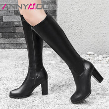 ANNYMOLI Autumn Knee High Boots Women PU Leather Thick Heels Tall Boots Zipper Extreme High Heel Long Shoes Lady Plus Size 34-43