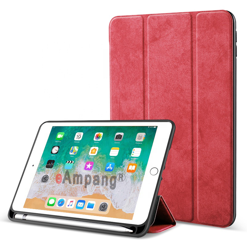 Red Red For iPad 10 2 2019 Case with Pencil Holder for Apple iPad 7 7th Generation A2197