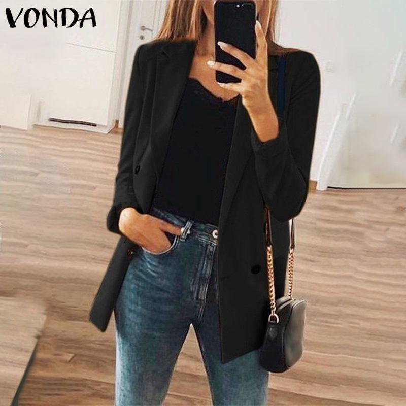 VONDA 2020 Women Blazers And Jackets Ladies Blazer Black Office Business Suit Coat Plus Size Female Blazer Coat Women's Jackets