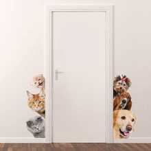 Honden Katten 3D Muursticker Art Mural Decal Kitten Puppy Funny Deur Window Art Sticker Poster Decoraties Voor Kinderkamer home Decor(China)