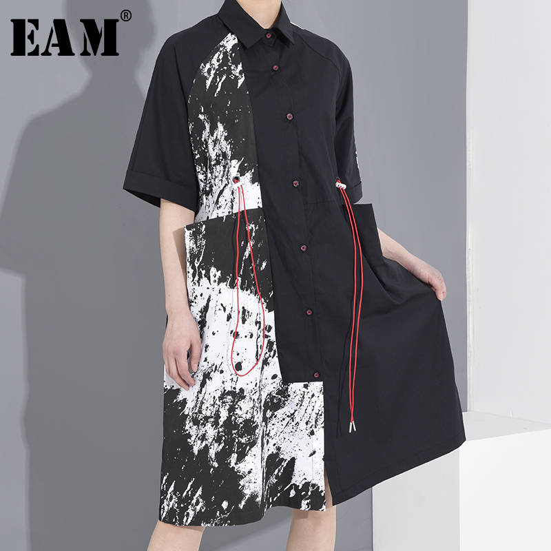 [EAM] Women Black Pattern Printed Big Size Shirt Dress New Lapel Half Sleeve Loose Fit Fashion Tide Spring Summer 2020 1T64601