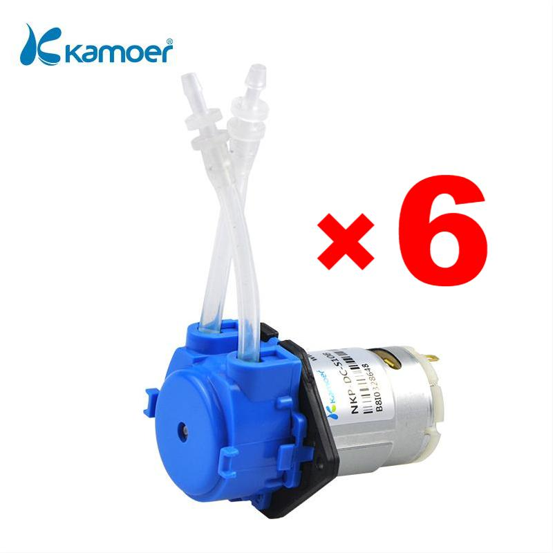 Kamoer NKP 12V Small Flow and Low Pressure Peristaltic Pump with Silicone Tube 3*5mm, Blue Color, 3 Rotors and Straight Plate