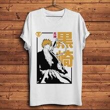 Camiseta divertida de anime de lejía Ichigo para hombre, camisa informal de manga japonesa, Blanco nuevo, unisex, ropa de calle