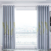 Simple European Banana Leaf Printed Blackout Drapes Curtains Living Room Bedroom Kitchen Screen Perforated Curtain Home Decor DA