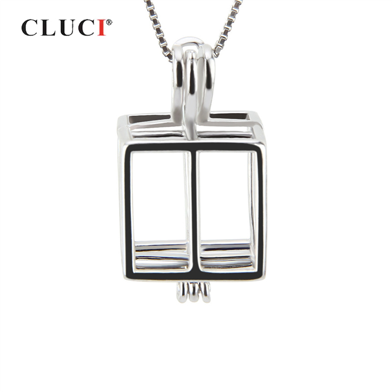 CLUCI 925 Sterling Silver Square Box Shaped Cage Pendant For Necklace Jewelry Making DIY Women 925 Silver Pendant Pearl Locket