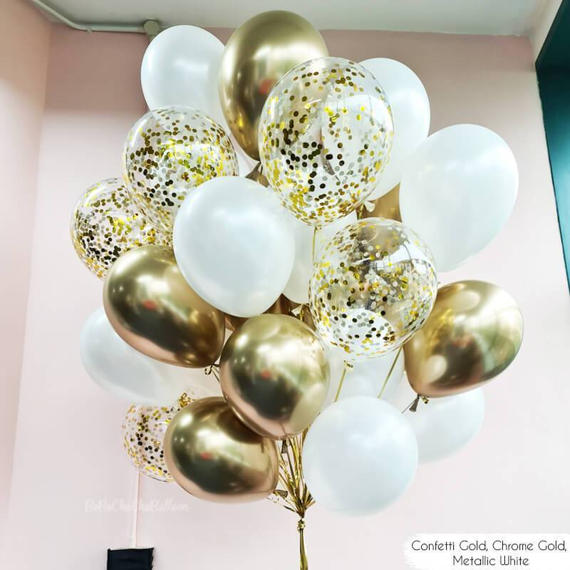 40 Pack White Chrome Gold Balloons Bouquets Latex Confetti Balloon Garland Set For Wedding Bridal Shower Birthday Party Decor