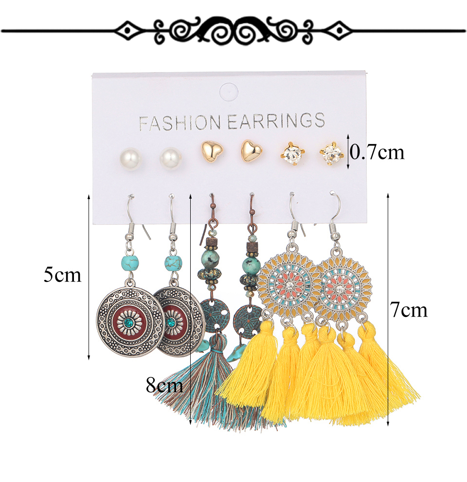 Hd82b58e8d61b44bba0affd92c8a02249B - Multiple Women's  Boho Ethnic Drop Earrings