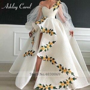 Image 3 - Seksi sevgiliye dantel düğün elbisesi 2020 puf kollu 3D çiçekler Lace Up yüksek/düşük A Line Ashley Carol gelin kıyafeti Vestido De noiva