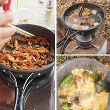 Cleaning Brush Aluminum Alloy Cookware Set Wooden Shovels Nonstick Pan 2-3 People Are Suitable Outdoor Portable Picnic