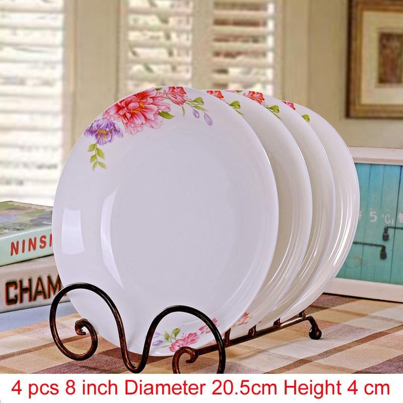 Jingdezhen porcelaine porcelaine vaisselle | Porcelaine, vaisselle pour la salle à manger, vaisselle en céramique assiettes à soupe profonde, assiettes à Sushi 4 pièces/ensemble - 5