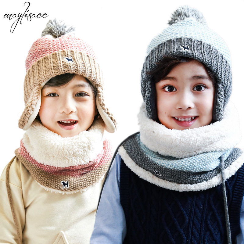 Maylisacc New Autumn And Winter Children's Thickened Knitted Hat Scarf Warm Set O-neck Scarf Snood Hat Set Winter Accessories