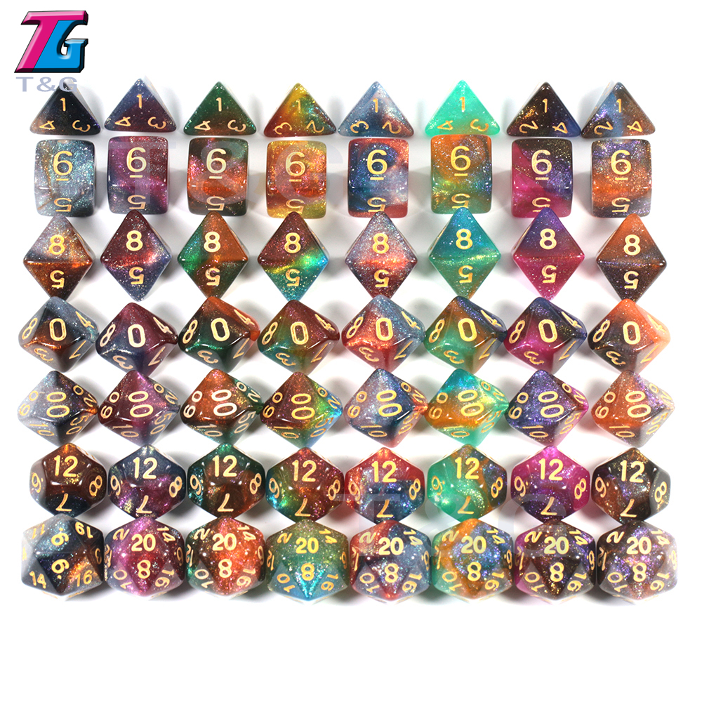 Beautiful Galaxy Dice 7 Pieces with PU Leather Bag Shine Bright Like Galaxy Game Table Accessories Man Gift  board game