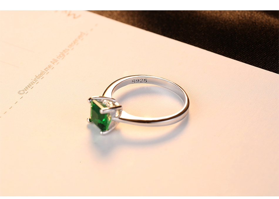 CZCITY Emerald Simple Female Zircon Stone Finger Ring 925 Sterling Silver Women Jewelry Prom Wedding Engagement Rings Brand Gift Hd82bcb69c77c427881dc02fef1959323s ring