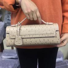Summer Khaki Ostrich Women Clutch Bag Python Handbags Ladies