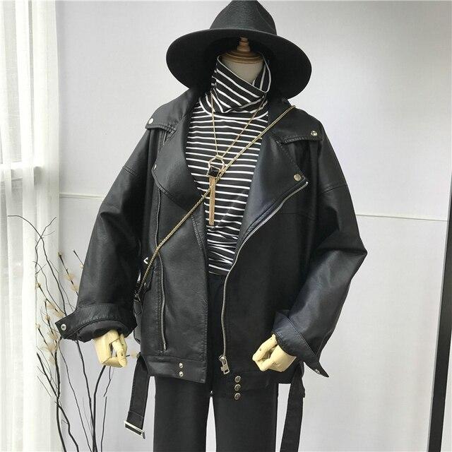 [EAM] High Quality 2021 Spring Black PU Leather Loose Turn-down Collar Zipper Fashion New Women's Wild Jacket LA938 3