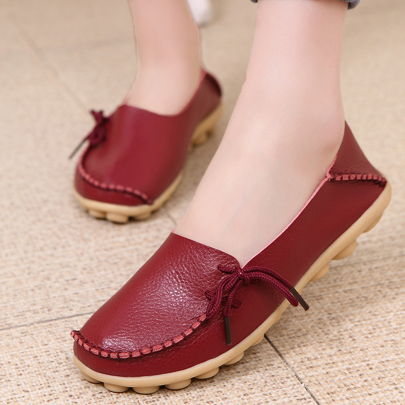 Women Flats  Summer Women Slipony Genuine Leather Shoes Slip on Ballet Bowtie  Moccasins Ballet Flats Zapatos De Mujer Shoes