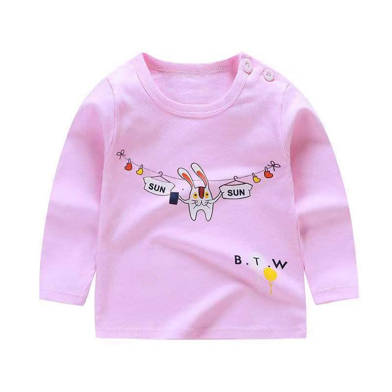От 6 месяцев до 5 лет унисекс; сезон осень-зима; хлопковая футболка с длинными рукавами и героями мультфильмов; футболки для маленьких мальчиков и девочек; детская повседневная одежда; одежда с круглым вырезом - Цвет: Q48
