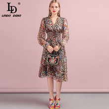 LD LINDA DELLA 2019 Autumn Women Dress Runway Fashion Designer Sexy V-Neck Leopard Butterfly Printed Modern New Ladys Dresses