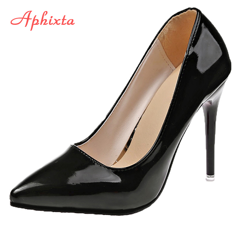 Aphixta 11.5cm Office Thin Heels Pumps Women Shoes Pointed Toe Patent Leather Wedding Dress Shoes Woman Chaussures Femme
