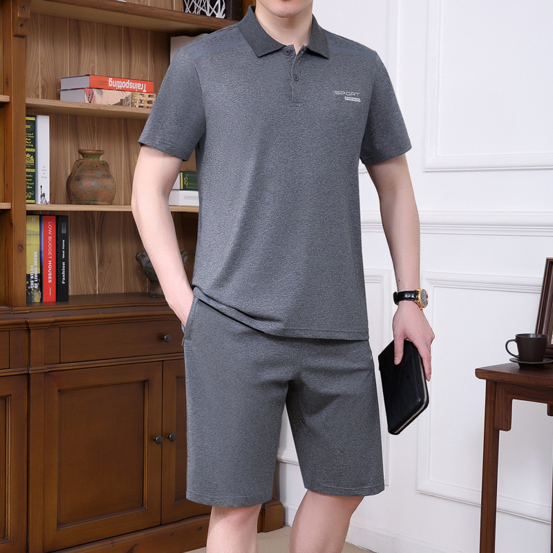 2019 T-shirt Suit Men's Summer Middle-aged Jogging Suits Casual Daddy Clothes Polo Shirt Fold-down Collar Short Sleeve Two-Piece