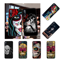 NBDRUICAI Hot Catrinas and skull Fashion Soft black Phone Case For Huawei Y5 Y6 Y7 Y9 Prime 2019 Enjoy 7 8 9 10 Plus(China)