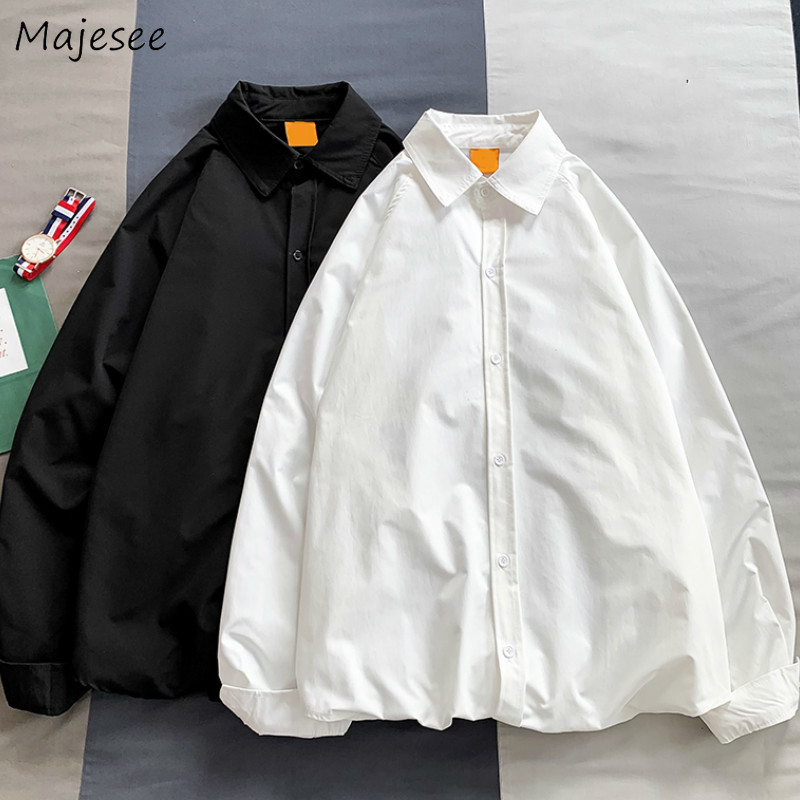 Men Shirts Solid Long Sleeve All-match Student Turn-down Collar Loose Oversize Ins Leisure Daily Outwear Ulzzang Chic Harajuku
