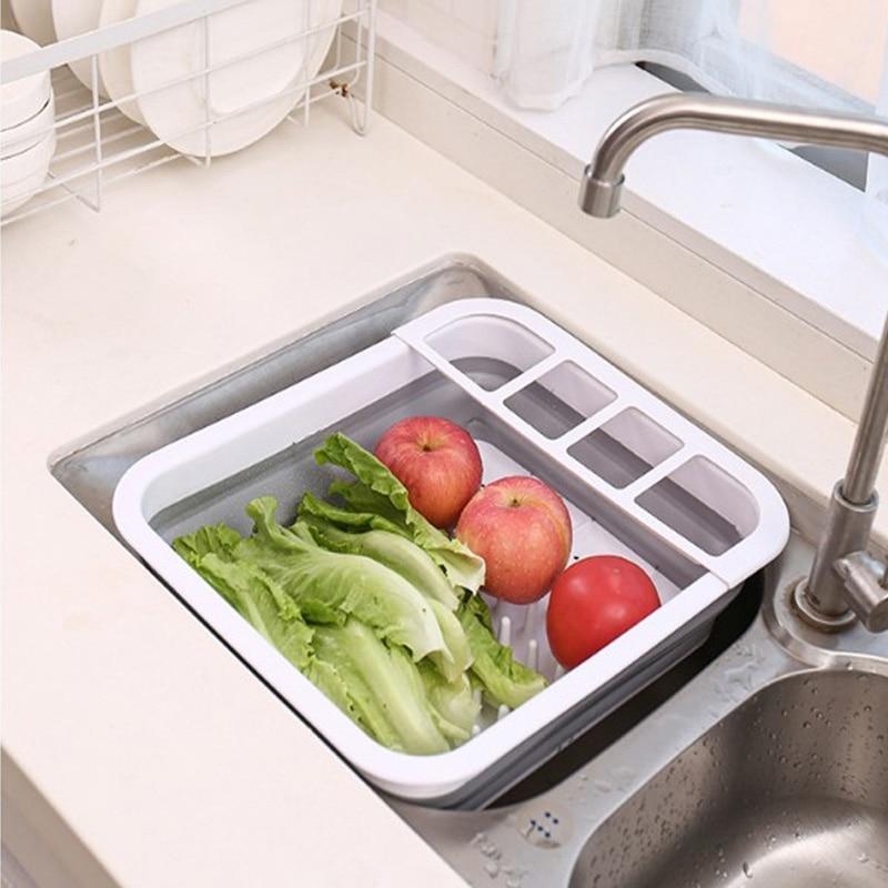 Negro-11 organizador de fregadero de cocina multifuncional AKlamater Cesta de drenaje telesc/ópica de acero inoxidable para secar platos escurreplatos para frutas secas brazos ajustables