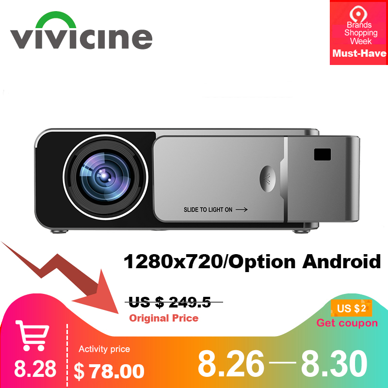 VIVICINE 1280x720p Portable HD Projector,Option Android 7.1 HDMI USB 1080p Home Theater Proyector WIFI Mini Led Beamer Весы