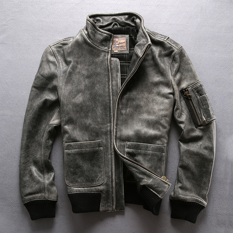 AVIREXFLY 2020 New Vintage Gray Genuine Cowskin Motorcycle Leather Jacket Mens Casual Vintage Cowhide Leather Jacket