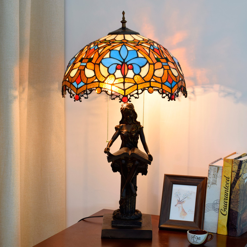 40cm European retro Tiffany stained glass living room dining room bedroom bedside table lamp American love lamp Desk Lamps Lights & Lighting - title=