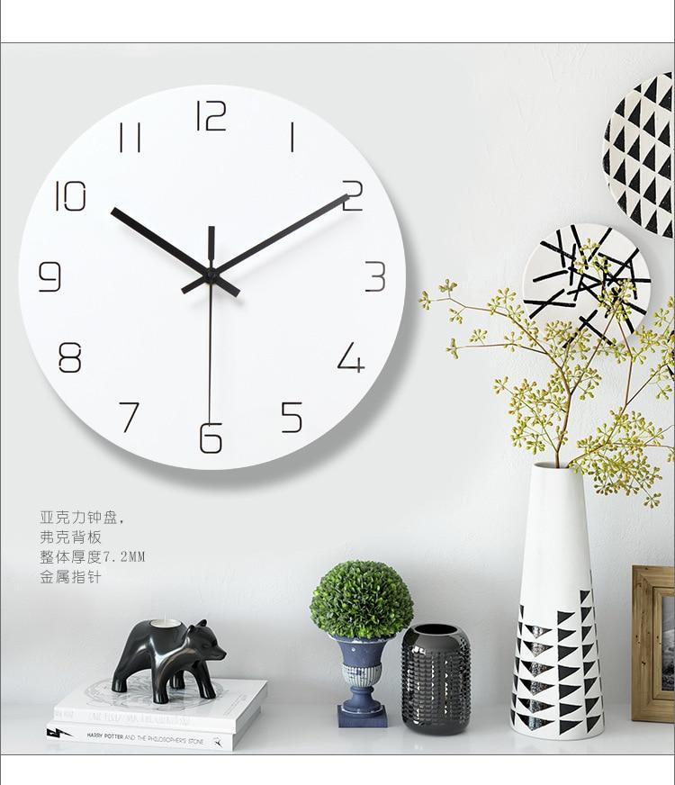 Wall Clock Nordic Style Fashion Simple Silent Wall Clocks For Home Decor Pure White Type Wall Clock Quartz Modern Design Timer